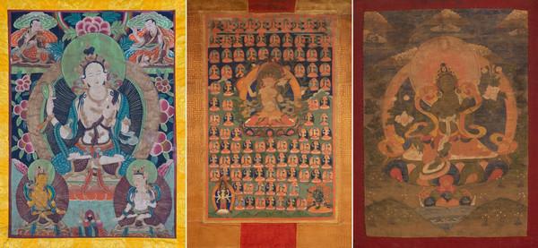 다양한 티벳탕카 불화.